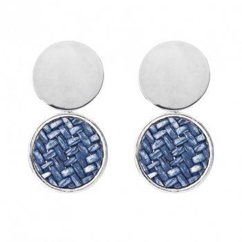 Viva classic oorhangers gevlochten blauw-oorsterkers