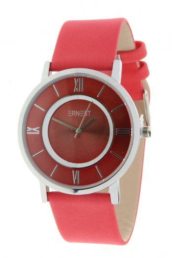 Stijlvol horloge dames gekleurd-rood merk Ernest