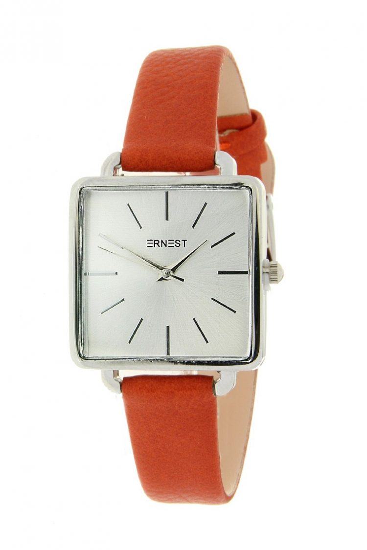 Vierkant horloge lederen-band-rood