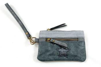 Portemonnee zakformaat met polsbandje en ster- donker grijs
