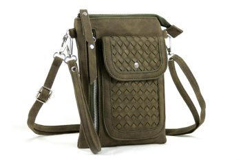 Heuptasje-schoudertasje groen gevlochten voorvak