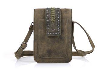Telefoontasje - heuptasje groen met studs en borduurwerk