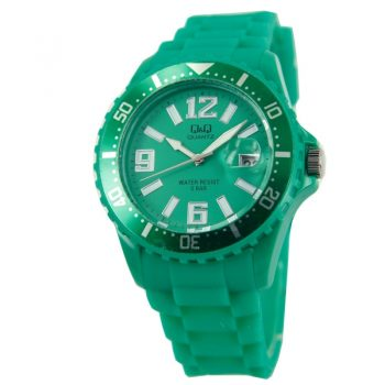 Q&Q quartz sportief groen unisex horloge| siliconen band