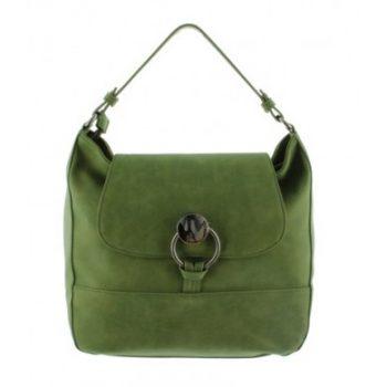 Schouder- handtas groen bucket met metalen ring