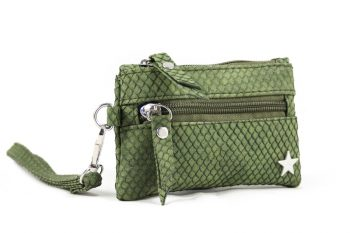 Kleine groene zak portemonnee slangenprint