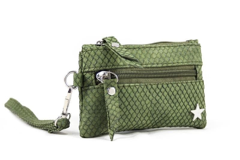 Groene Portemonnee.Kleine Groene Zak Portemonnee Slangenprint Blingdings