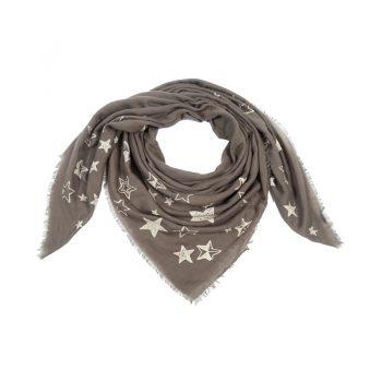 Sjaal met sterren-groen-beige | vierkant