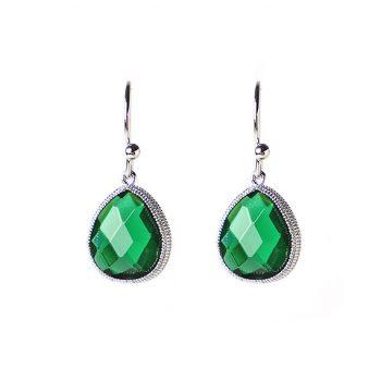 Viva fashion oorhanger groene druppel-zilverkleurig