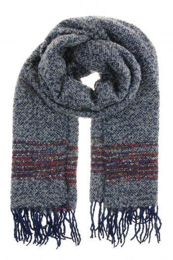 Sjaal zwart met blauw met franjes lang model