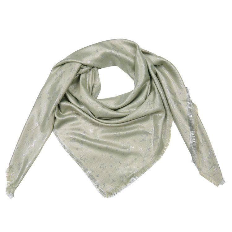 Grote vierkante sjaal groen met sterren