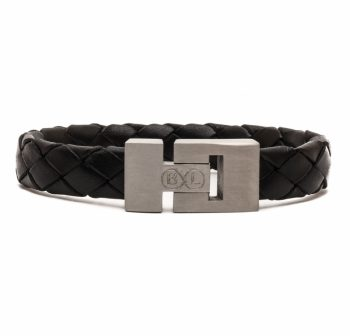 Handgemaakte leren armband zwart