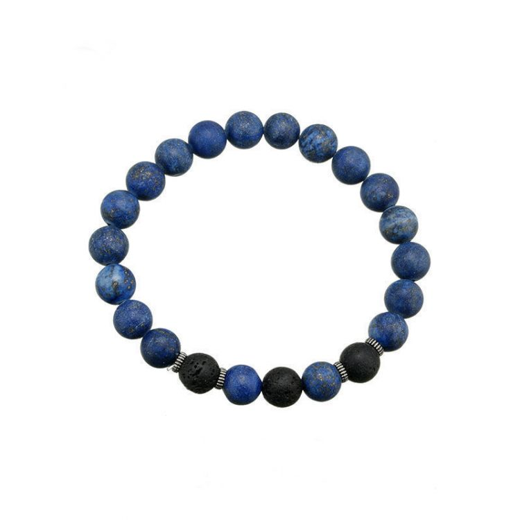 Kralenarmband natural stone blauw