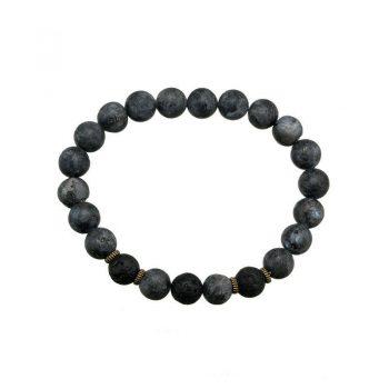 Kralenarmband natural stone zwart