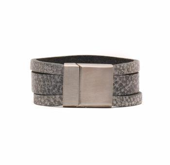 Handgemaakte leren grijze heren-damesarmband