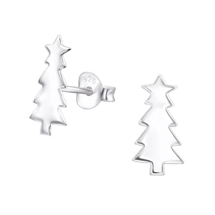 Zilveren kerstboom oorbellen met ster