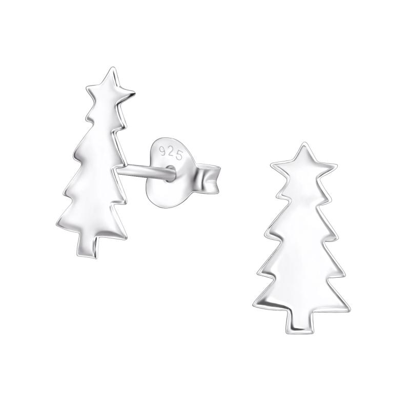 Zilveren Kerstboom Oorbellen Met Ster Blingdings