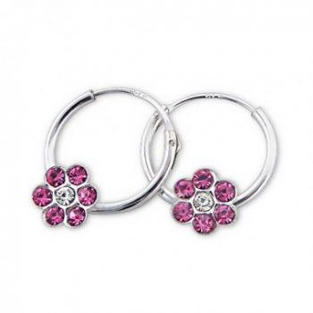 Oorbellen zilver met roze bloem