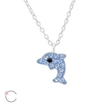 kinderketting met kristal dolfijn blauw