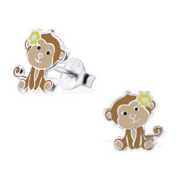 Kinderoorbellen zilver bruin apenkopjes