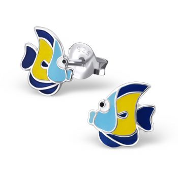 Zilveren kinderoorbellen gekleurde vis