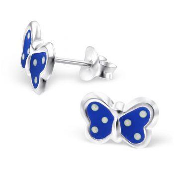 Zilveren kinderoorbellen blauwe vlinder met stippen