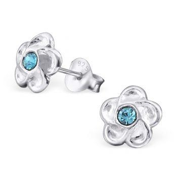 Oorbellen zilveren bloemetje blauw-steentje