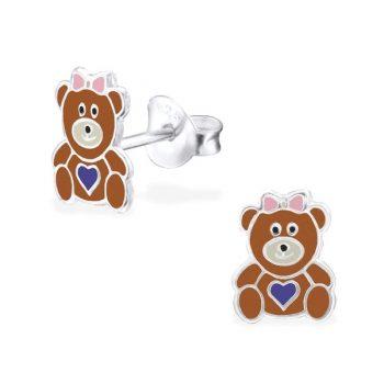 Kinderoorbellen zilver beren - bruin