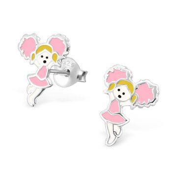 Zilveren kinderoorbellen majorette roze