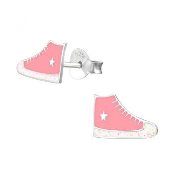 Zilveren kinderoorbellen gympen converse roze
