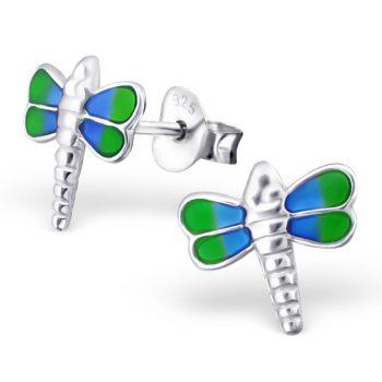 Oorbellen zilveren libelle blauw-groene afwerking