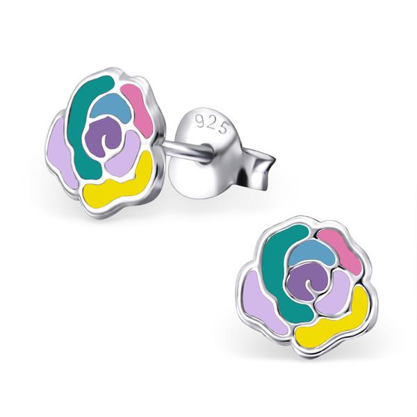 Zilveren oorbellen roos gekleurd