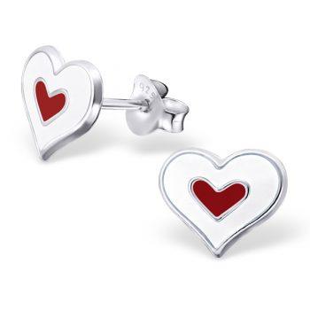 Zilveren kinderoorbellen hartjes wit met rood