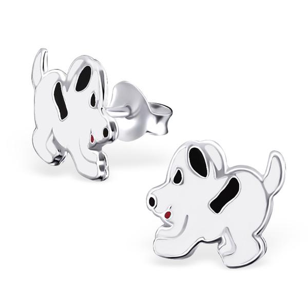 Kinderoorbellen zilveren hond afgewerkt met wit en zwart