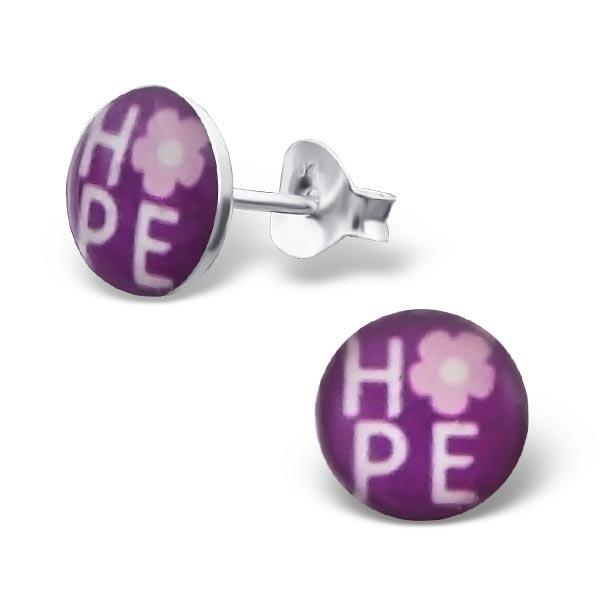 Oorbellen rond hope | tekst oorbellen op zilveren steker