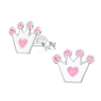 Kinderoorbellen kroontje wit met roze glitters