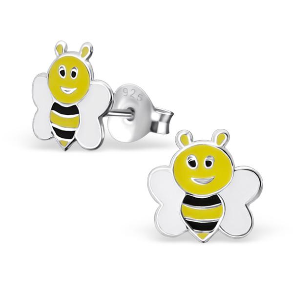 Zilveren kinderoorbellen honingbij zwart-geel