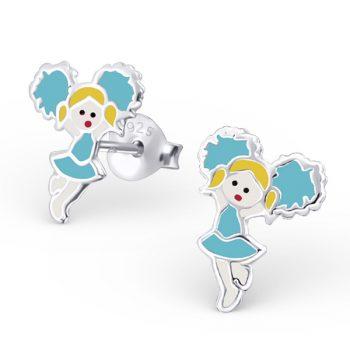 Zilveren kinderoorbellen majorette blauw pakje