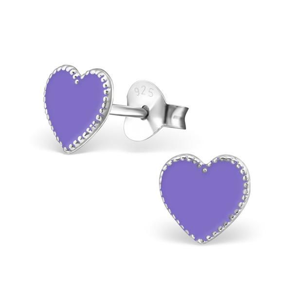 Oorbellen zilver hart paars met mooie rand