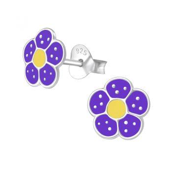 Zilveren kinderoorbellen paarse bloem met zilveren stippen