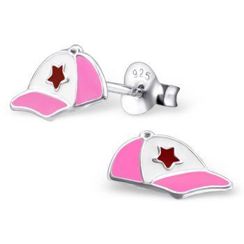 Kinderoorbellen petje roze |sterling zilver 925