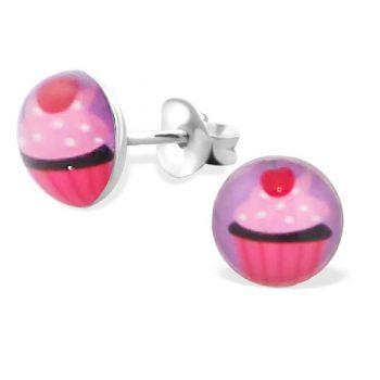 Oorbellen rond cupcake roze