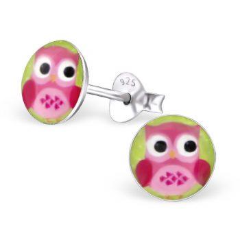 Kinderoorbellen rond met roze uil