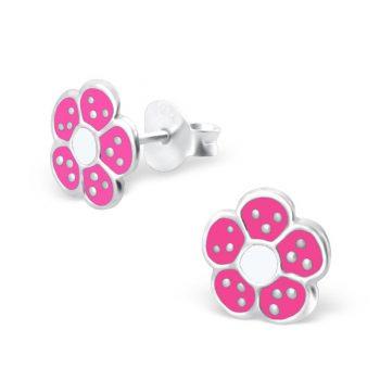 Zilveren kinderoorbellen roze bloem met zilveren stippen