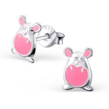 Zilveren kinderoorbellen roze muisje