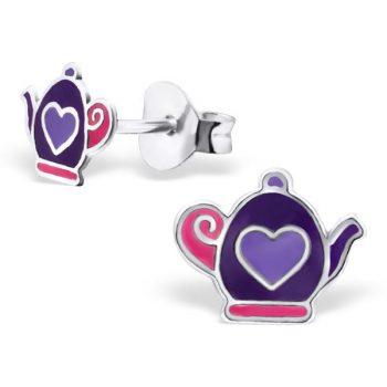 Kinderoorbellen paarse theepot | echt zilver