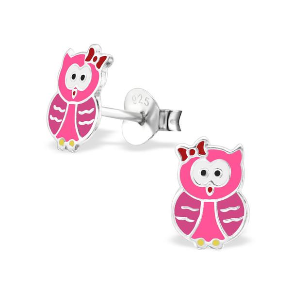 Kinderoorbellen zilveren uilen roze tinten
