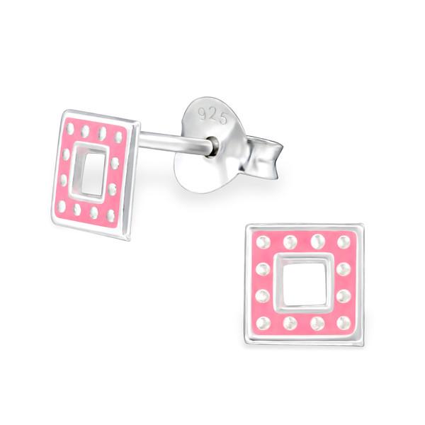 Zilveren oorbellen vierkant met stippen-roze