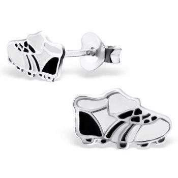 Zilveren kinderoorbellen voetbalschoen zwart wit