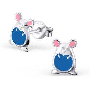 Kinderoorbellen zilver muisje blauw roze