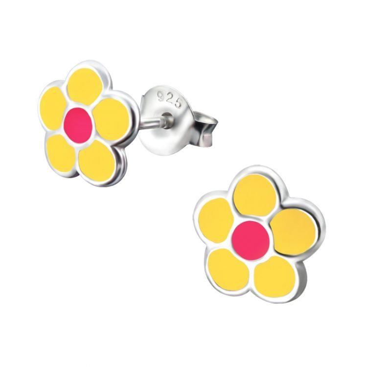 Zilveren kinderoorbellen geel bloem roze hart